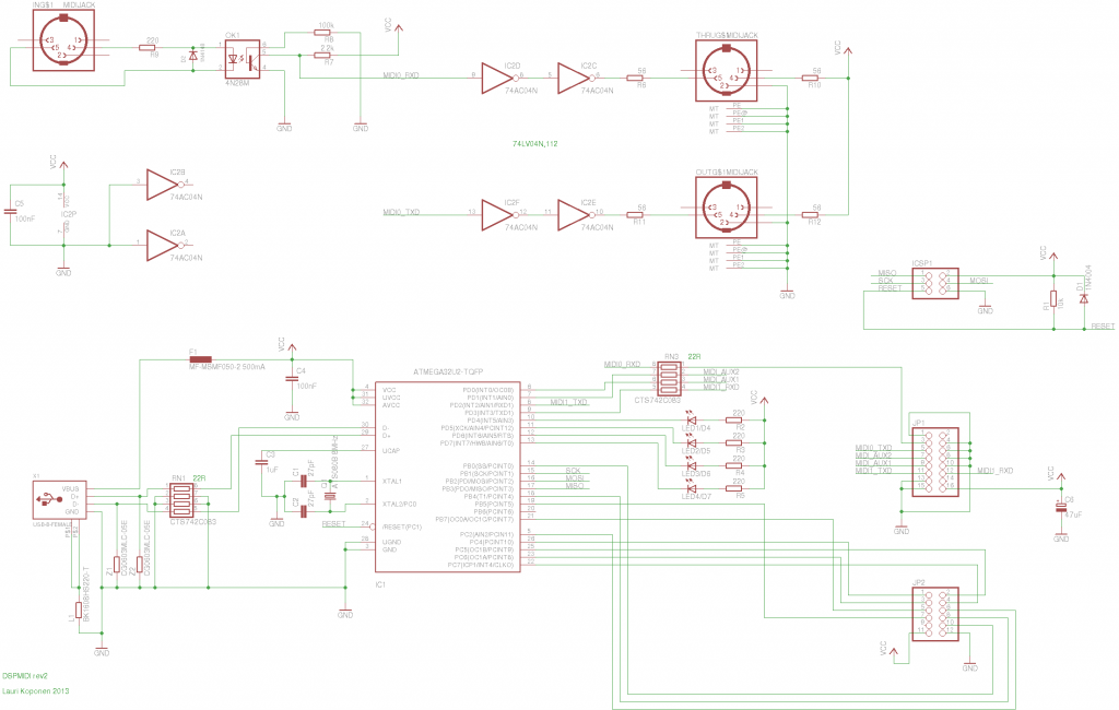 DSPMIDI rev2 schematic