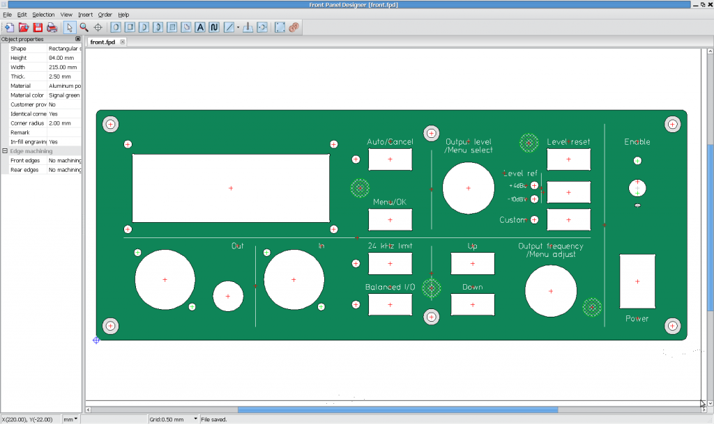 THD analyzer front panel, first sketch